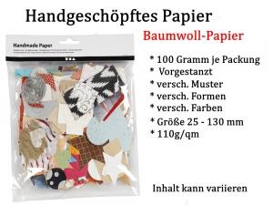 Handgeschöpftes Papier zum Basteln bunt, geprägt & vorgestanzt ca. 100 Gramm Bastelpapier - Handarbeit kaufen