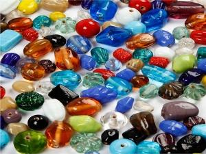 Glas- & Keramik-Perlen-Mix Glasperlen Keramikperlen Farbmix Mischsortiment 130 Gramm - Handarbeit kaufen