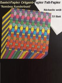 Faltpapier für Basketta-Sterne Origami-Papier Bastel-Papier Kunderbunte Romben 33 Bögen 15 x15 cm - Handarbeit kaufen