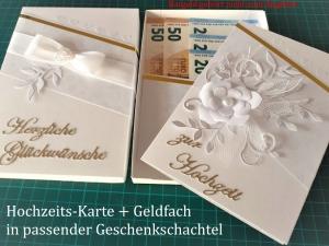 Hochzeitskarte + Geschenkschachtel für Geldgeschenk / Gutscheingeschenk