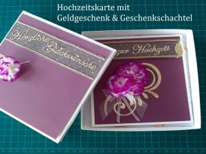 Handgefertigte, Weinrote Hochzeitskarte in passend dekorierter Schachtel für Geldgeschenke oder Gutscheine - Handarbeit kaufen