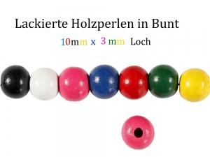 Perlen aus Holz, bunt lackiert, Holzperlen 10 mm Holzkugeln, Kinderperlen Perlenketten fädeln - Handarbeit kaufen
