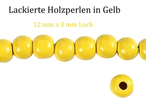 Perlen aus Holz, - Gelb lackiert -, Holzperlen 12 mm Holzkugeln, Kinderperlen Perlenketten fädeln - Handarbeit kaufen