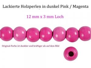 Perlen aus Holz, - dunkel Pink / Magenta lackiert -, Holzperlen 12 mm Holzkugeln, Kinderperlen Perlenketten fädeln - Handarbeit kaufen