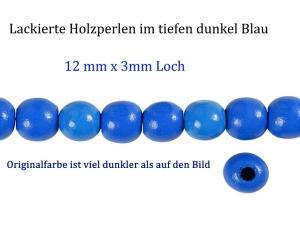 Perlen aus Holz, - dunkel Blau lackiert -, Holzperlen 12 mm Holzkugeln, Kinderperlen Perlenketten fädeln - Handarbeit kaufen