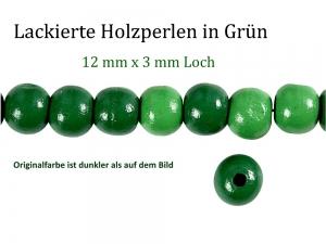 Perlen aus Holz, - dunkel Grün lackiert -, Holzperlen 12 mm Holzkugeln, Kinderperlen Perlenketten fädeln - Handarbeit kaufen