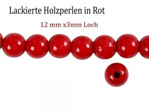 Perlen aus Holz, - Rot lackiert -, Holzperlen 12 mm Holzkugeln, Kinderperlen Perlenketten fädeln - Handarbeit kaufen