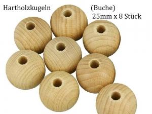 Holzkugeln, Holzperlen Ø 25 mm 8 Stück unbehandeltes Buchen-Holz durchgehendes Loch Hartholz - Handarbeit kaufen