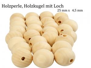 Holzkugeln, Holzperlen Ø 25 mm unbehandeltes Holz durchgehendes Loch   - Handarbeit kaufen