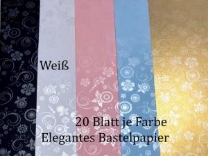 Elegantes Faltpapier in Weiß, Deko-Papier, Bastelpapier perfekt für Karten, schachteln, zum Stanzen uvm