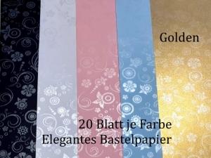 Elegantes Faltpapier in Golden, Deko-Papier, Bastelpapier perfekt für Karten, schachteln, zum Stanzen uvm  - Handarbeit kaufen