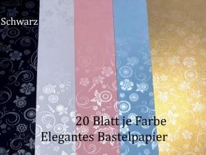 Elegantes Faltpapier in Schwarz, Deko-Papier, Bastelpapier perfekt für Karten, schachteln, zum Stanzen uvm