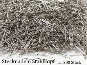 Stecknadeln mit Metallkopf, Stahlkopf zum Basteln mit Styropor und zum Nähen 200 Stück