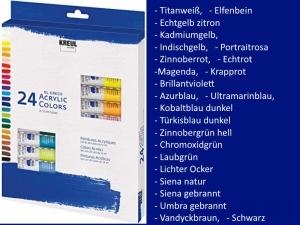 Acrylfarbe in Tuben, Tubenfarbe 24 Farben, Künstlerfarbe von Kreul, Zeichnen, Malen, Malerei, Kunst, Bilder, - Handarbeit kaufen