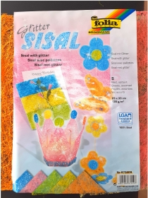 Glitter Sisal-Platten  Flitter Glitzer Sisal in Größe A4 5 Farben Bastel-Sisal