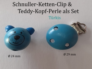 Schnuller-Kette selber basteln, 2er-Set in Türkis, Schnuller-Clip & Teddy-Kopf-Perle aus lackiertem Holz, Baby, Nuckel, Schnuller,   - Handarbeit kaufen