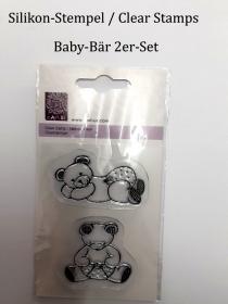 Silikon-Stempel, Clear Stamps, Baby Bär im Doppelpack Geburt Glückwunschkarte  - Handarbeit kaufen