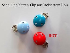 Schnuller-Kette selber basteln, ROT lackiert, Schnuller-Clip aus lackiertem Holz, Baby, Nuckel, Schnuller, - Handarbeit kaufen