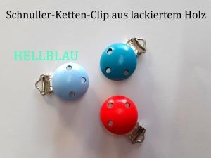 Schnuller-Kette selber basteln, HELLBLAU lackiert, Schnuller-Clip aus lackiertem Holz, Baby, Nuckel, Schnuller, - Handarbeit kaufen