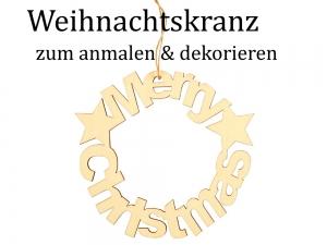 Weihnachtskranz Türkranz Fensterkranz aus Holz zum Dekorieren & Verzieren - Handarbeit kaufen