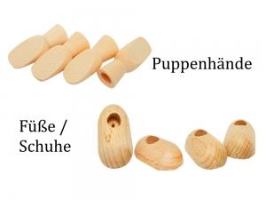 Hände & Füße für Püppchen Puppen, Marionetten Zubehör Puppen selber basteln Holz-Hände Hand Füße Schuhe