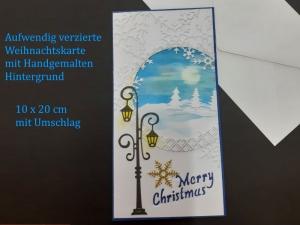 Weihnachtskarte mit Laterne und handgemalten Hintergrund aufwendig gestaltet, Merry Christmas, Weihnachten, Karte