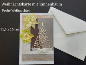 Weihnachtskarte mit Tannenbaum, hergestellt aus verschiedenen Materialien, Frohe Weihnachten, Karte, Christmas