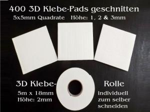 3D Pads für 3D-Karten oder Scrapbooking, Schaumstoff-Klebe-Pads 3D-Kleber, 400 Stück oder 1 Rolle - Handarbeit kaufen