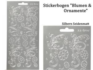 Sticker für Karten, Konturensticker Motiv-> Blumen Ornamente, Silber matt, Papierbasteln, Aufkleber Kartengestaltung - Handarbeit kaufen