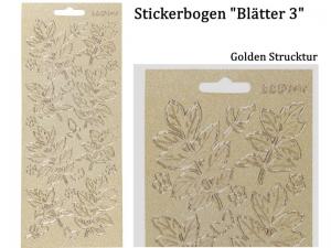 Sticker für Karten, Konturensticker Motiv-> Blätter 3, golden Struktur, Papierbasteln, Aufkleber Kartengestaltung - Handarbeit kaufen