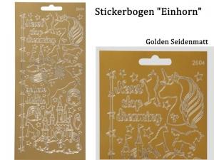 Sticker für Karten, Konturensticker Motiv-> Einhorn , Golden, Papierbasteln, Aufkleber Kartengestaltung Kinder - Handarbeit kaufen