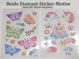 Sticker für Karten, 3D-Motive -> Schmetterlinge oder Fantasie-Einhorn, Papierbasteln, Aufkleber Kartengestaltung Kinder