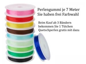 Perlengummi, Gummi zur Schmuckherstellung, Perlen fädeln, 10 Farben Auswahl + Quetschperlen gratis