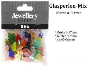 Glasperlen Blumen & Blätter ca. 60 Gramm, Perlen zum fädeln, Schmuckherstellung, Perlenmix, Armband, Ketten