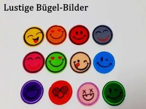 Filz-Aufbügler, Flicken, Applikation, Smiley - Gesichter, 10 verschiedene Bügelflicken für Kinder