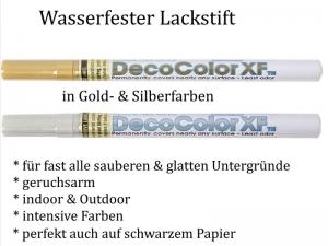 Wasserfeste Lackstifte in Gold oder Silber, Indoor & Outdoor, intensive Farbe, Permanent - Marker