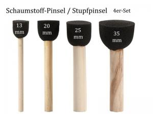 Stump-Pinsel, Schwammpinsel, Stempelpinsel, Schaumstoff-Pinsel,4er-Set