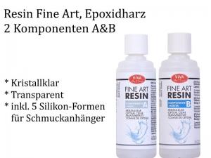 Resin, Epoxidharz, 2 Komponente A+B + Silikon-Formen als Set, Schmuck herstellen Harz gießen