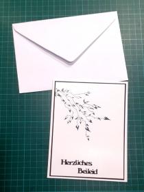 Beileidskarte, Trauerkarte mit Umschlag in silbern & schwarzen Blättern, Trauer, Verstorben, Beileid