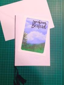 Große Beileidskarte, Trauerkarte mit Umschlag handgemalte Landschaft, Trauer, Verstorben, Beileid