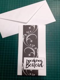 Beileidskarte, Trauerkarte mit Umschlag, Weiße Ranke auf Schwarz & Silbern Trauer, Verstorben, Beileid