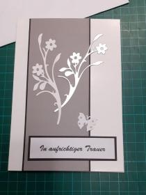 Beileidskarte, Trauerkarte mit Umschlag, Schwarz/Weiß & silbern, Trauer, Verstorben, Beileid  Anteilnahme, Kondolenz