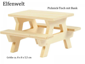 Elfenwelt Picknick-Tisch, Minimöbel für Elfenlandschaft Puppenstuben Fairy Garden zum anmalen & verzieren