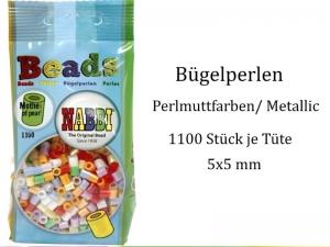 Bügelperlen kleine Tüte –1100 St. bunte Perlmuttfarben Bügelperlen - 5mm, Walzenperlen Metallic - Handarbeit kaufen