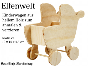 Elfenwelt Kinderwagen, Geburt, Baby-Party, Babygeschenk, Minimöbel für Elfenlandschaft Puppenstuben Fairy Garden zum anmalen & verzieren