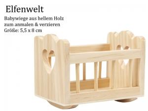 Elfenwelt Baby-Wiege, Geburt, Baby-Party, Babygeschenk, Minimöbel für Elfenlandschaft Puppenstuben Fairy Garden zum anmalen & verzieren - Handarbeit kaufen