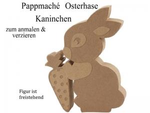 Osterhase Kaninchen Hase aus Pappmaché freistehend zum anmalen & Dekorieren Ostern, Osterdekoration, Eastern,