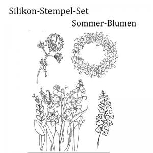 Silikonstempel, Clear-Stamper, transparent, Sommerblumen, Gartenblumen Blumen, Stempel-Set - Handarbeit kaufen