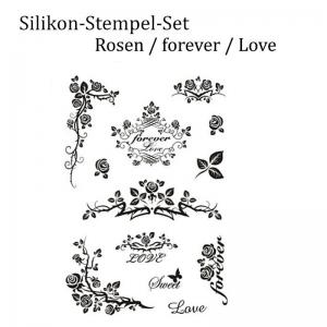 Silikonstempel, Clear-Stamper, transparent, Rosen, Liebe, forever, Stempel-Set