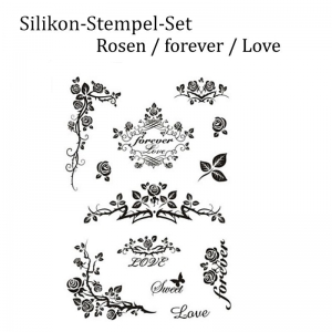 Silikonstempel, Clear-Stamper, transparent, Rosen, Liebe, forever, Stempel-Set - Handarbeit kaufen